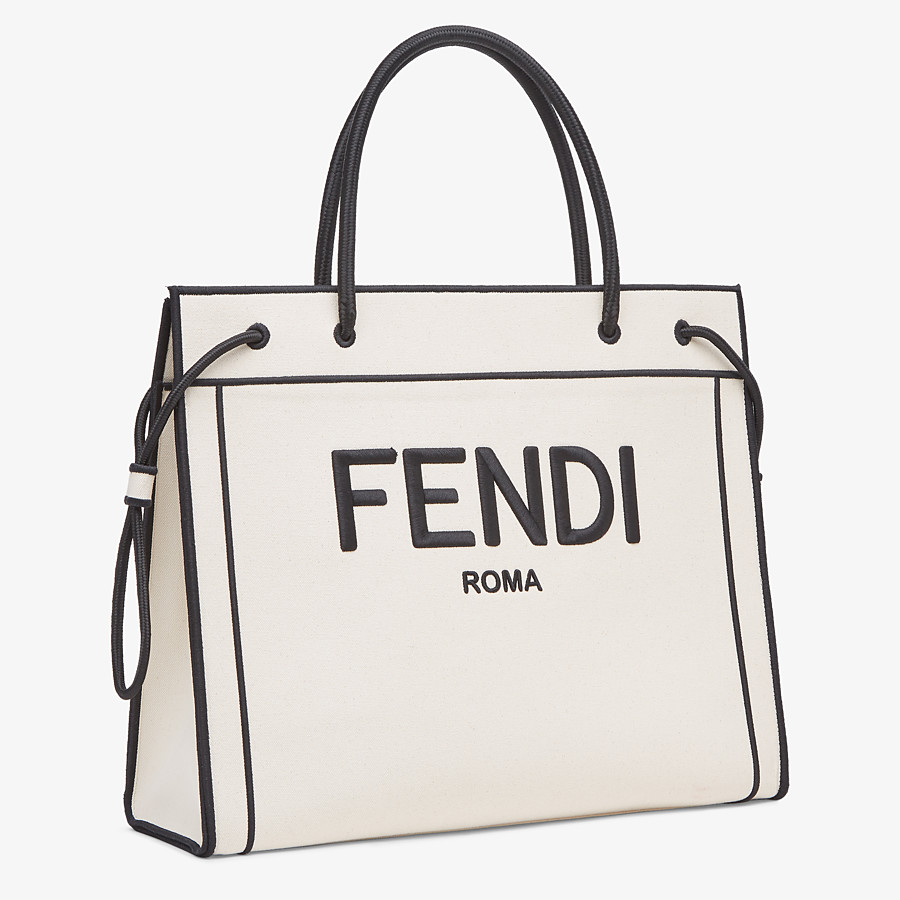 FENDI LARGE FENDI ROMA SHOPPER - Undyed canvas shopper bag - view 3 detail