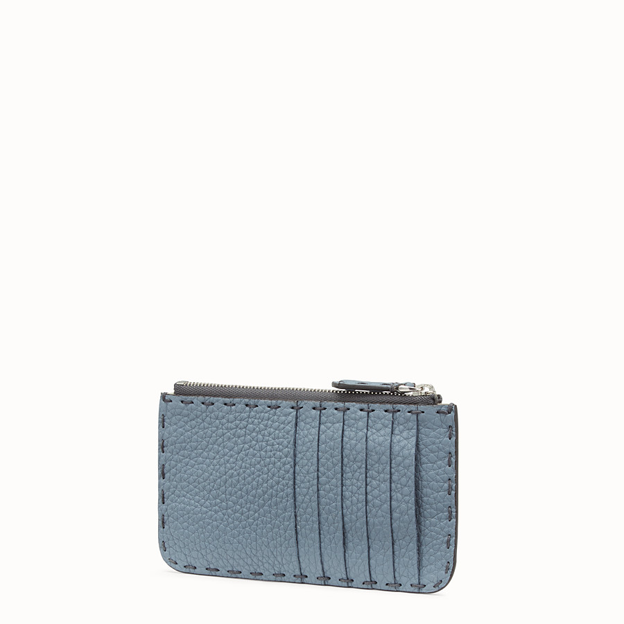 FENDI CARD POUCH - Pale blue leather pouch - view 2 detail