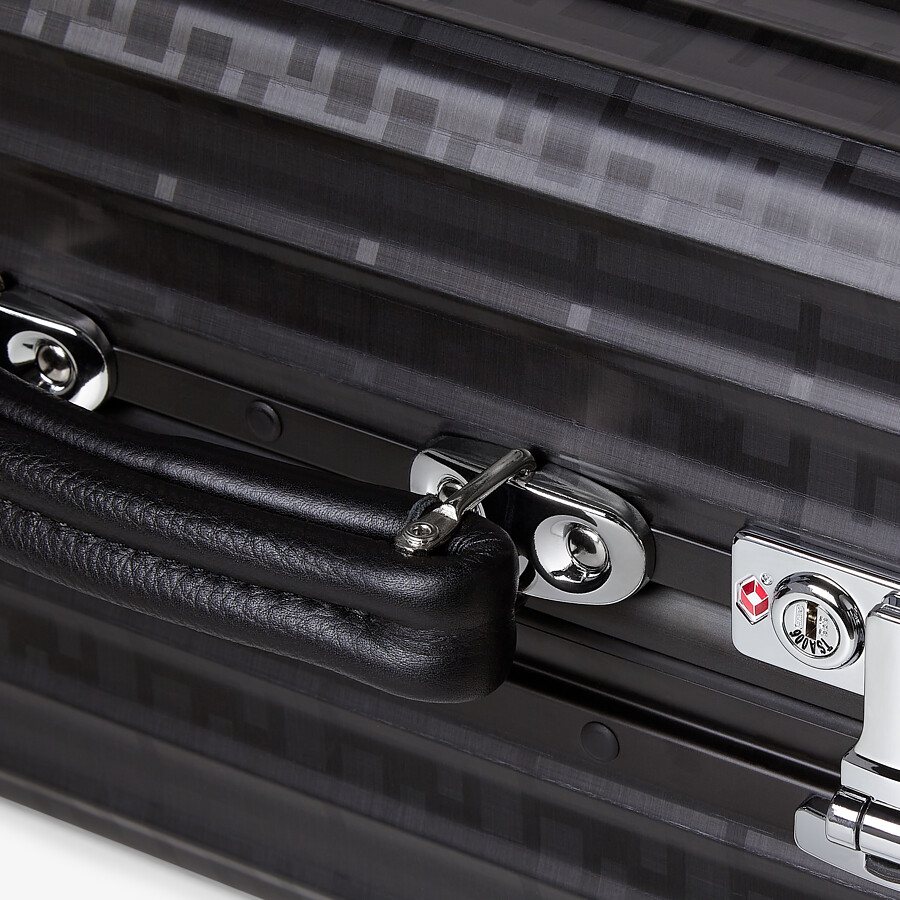 FENDI CABIN SIZE TROLLEY - Black aluminum trolley case with leather details - view 5 detail