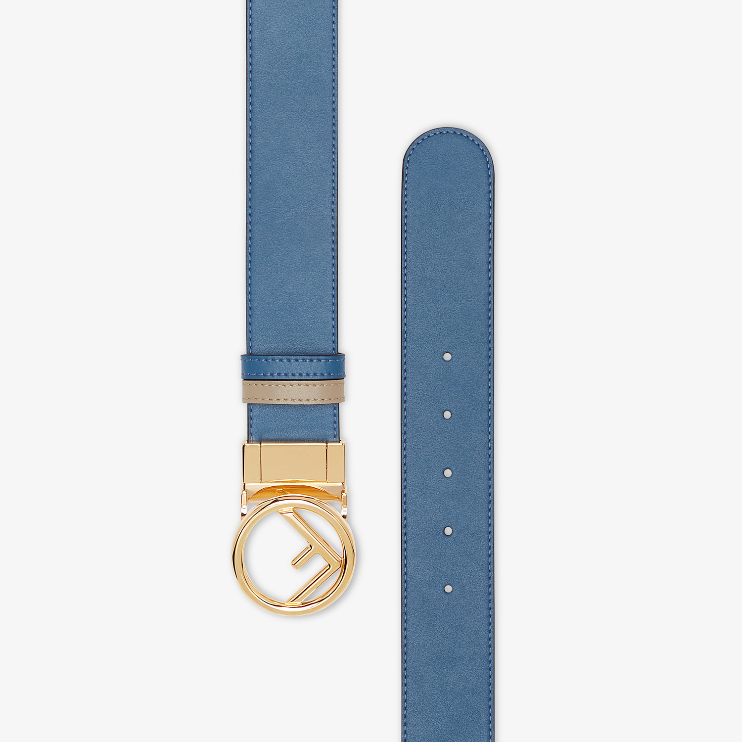 FENDI BELT - Beige and blue leather belt - view 2 detail