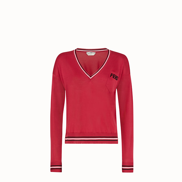 FENDI PULLOVER - Red silk jumper - view 1 small thumbnail