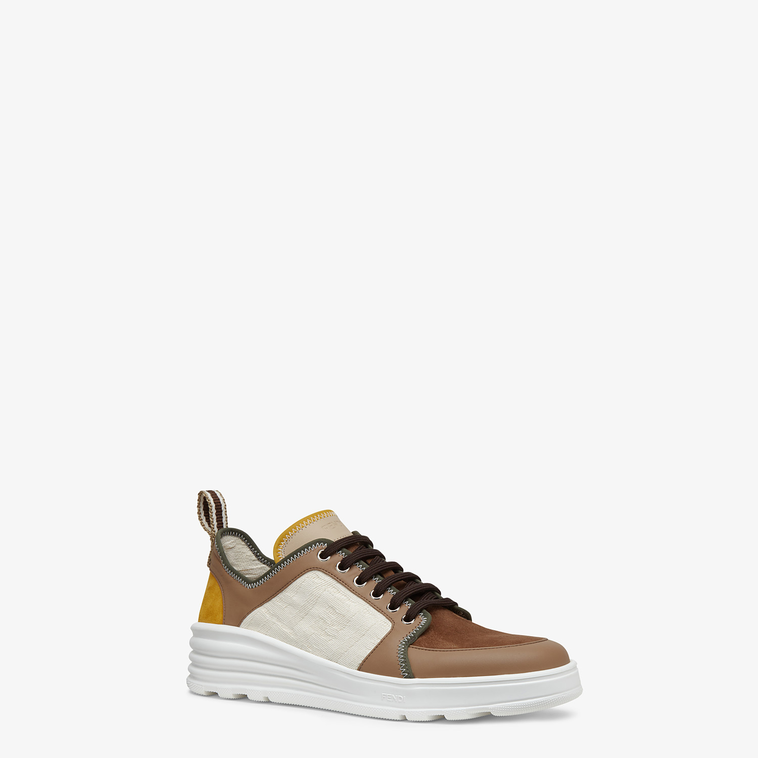 FENDI SNEAKERS - Multicolour leather and suede low-tops - view 2 detail