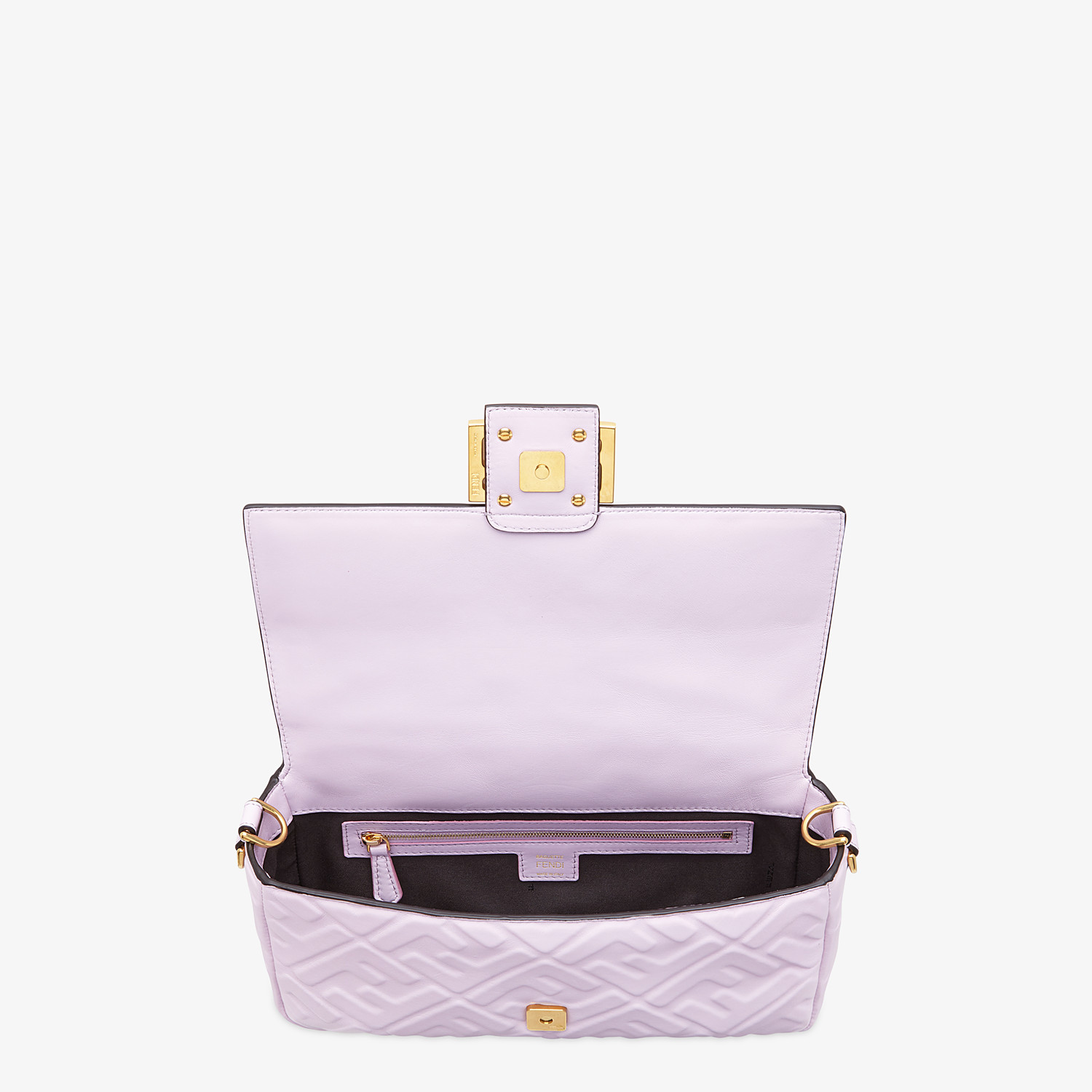 FENDI BAGUETTE - Lilac nappa leather FF Signature bag - view 5 detail
