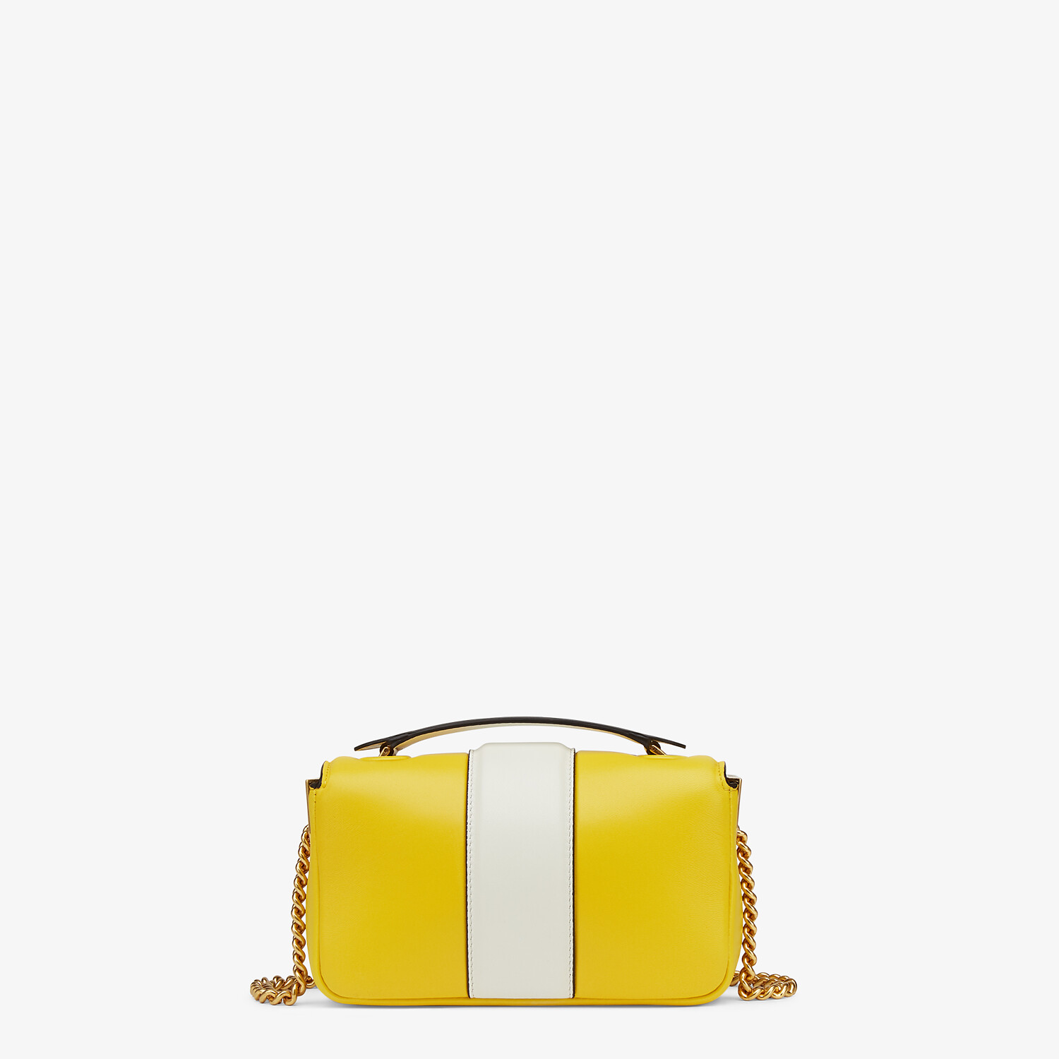 FENDI MINI BAGUETTE CHAIN - Yellow and white nappa leather bag - view 3 detail