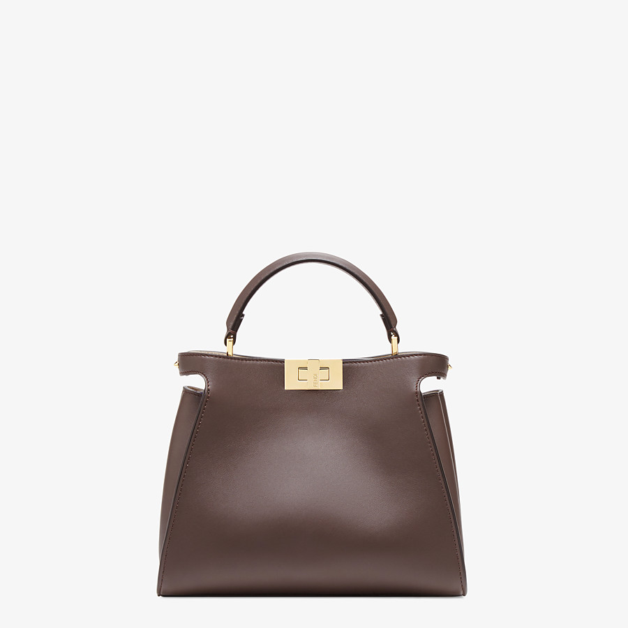 FENDI PEEKABOO ICONIC ESSENTIALLY - Brown leather bag - view 1 detail