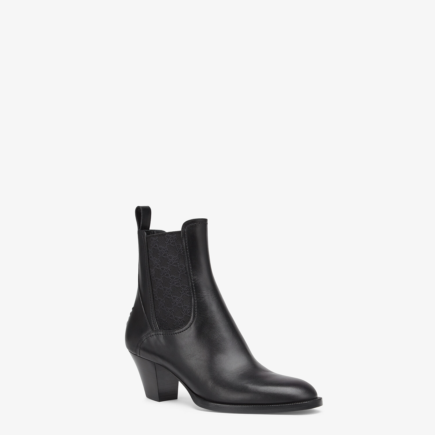 FENDI KARLIGRAPHY - Black leather boots with medium heel - view 2 detail