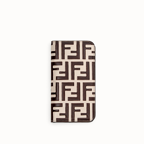 FENDI iPHONE X CASE - White leather bi-fold cover case - view 1 small thumbnail