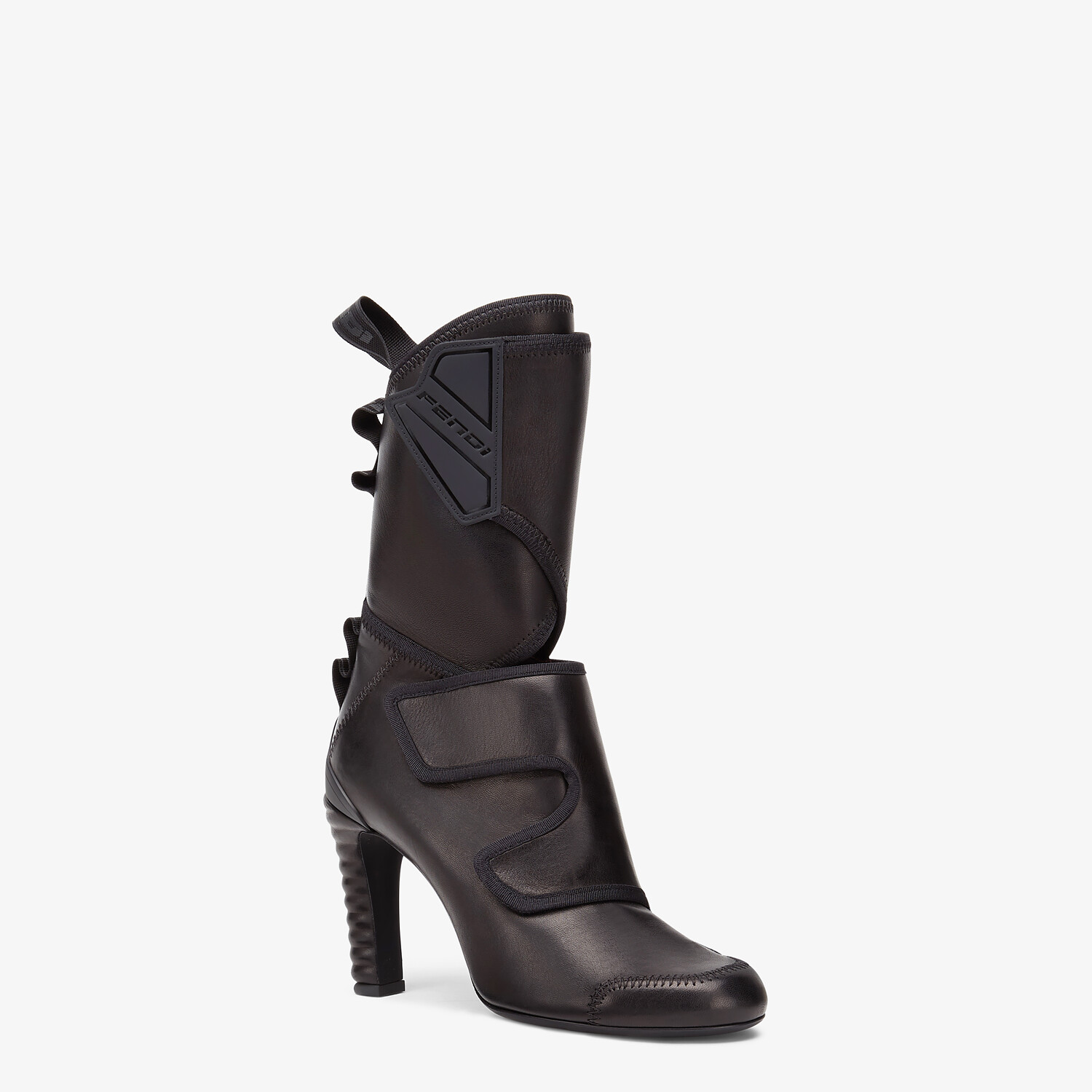 FENDI ANKLE BOOTS - Black leather Promenade Booties - view 2 detail