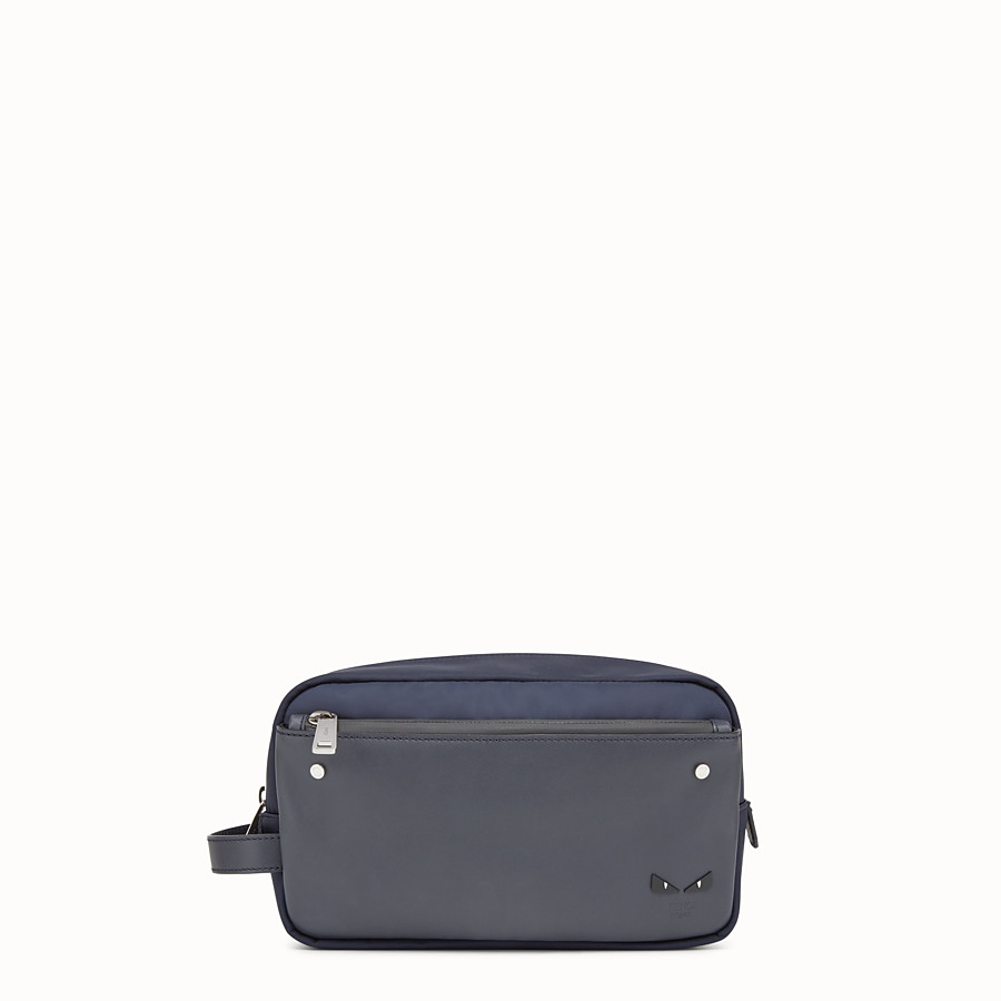 FENDI TOILETRY CASE - Blue nylon and leather case - view 1 detail