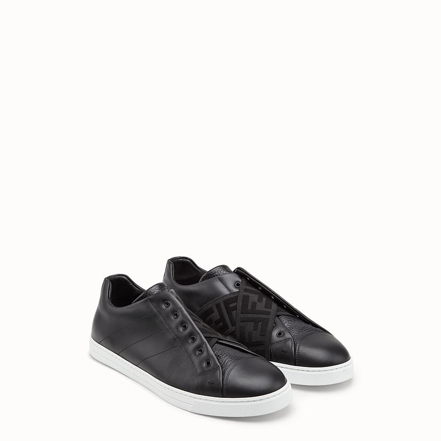 Mens Designer Shoes Fendi D Island Slip On Mocasine Casual Loafers Black