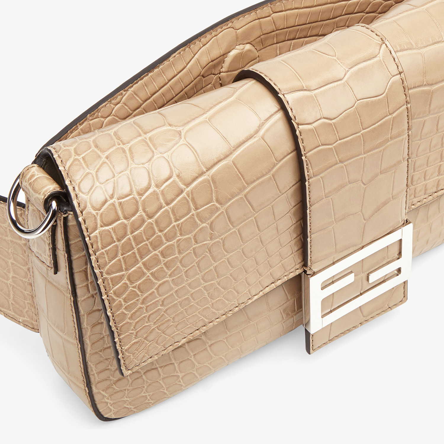 FENDI BAGUETTE - Beige alligator bag - view 6 detail