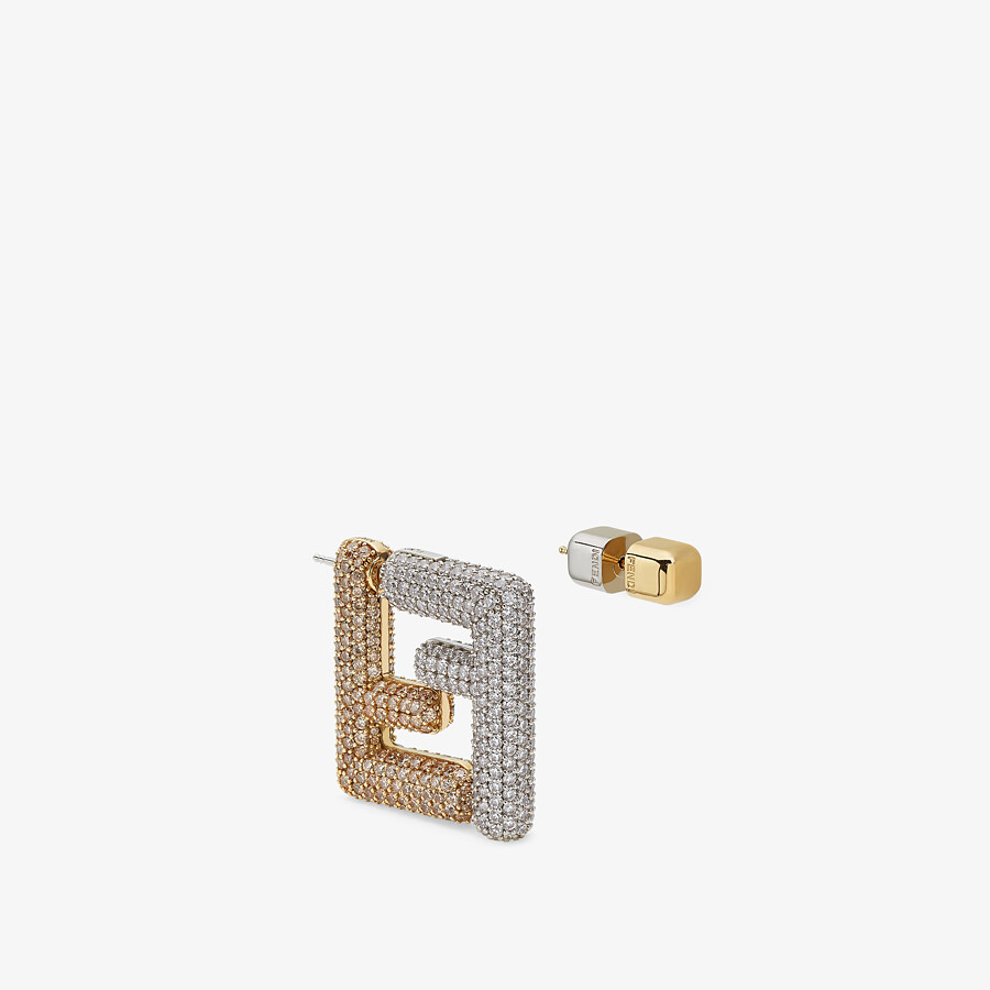 FENDI SMALL FF EARRINGS - Gold-color earrings - view 1 detail