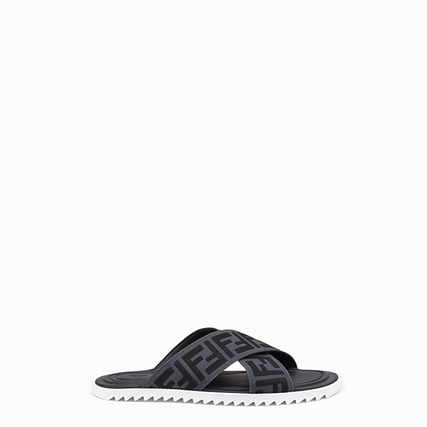 FENDI SLIDES - Sandals in grey stretch fabric - view 1 small thumbnail