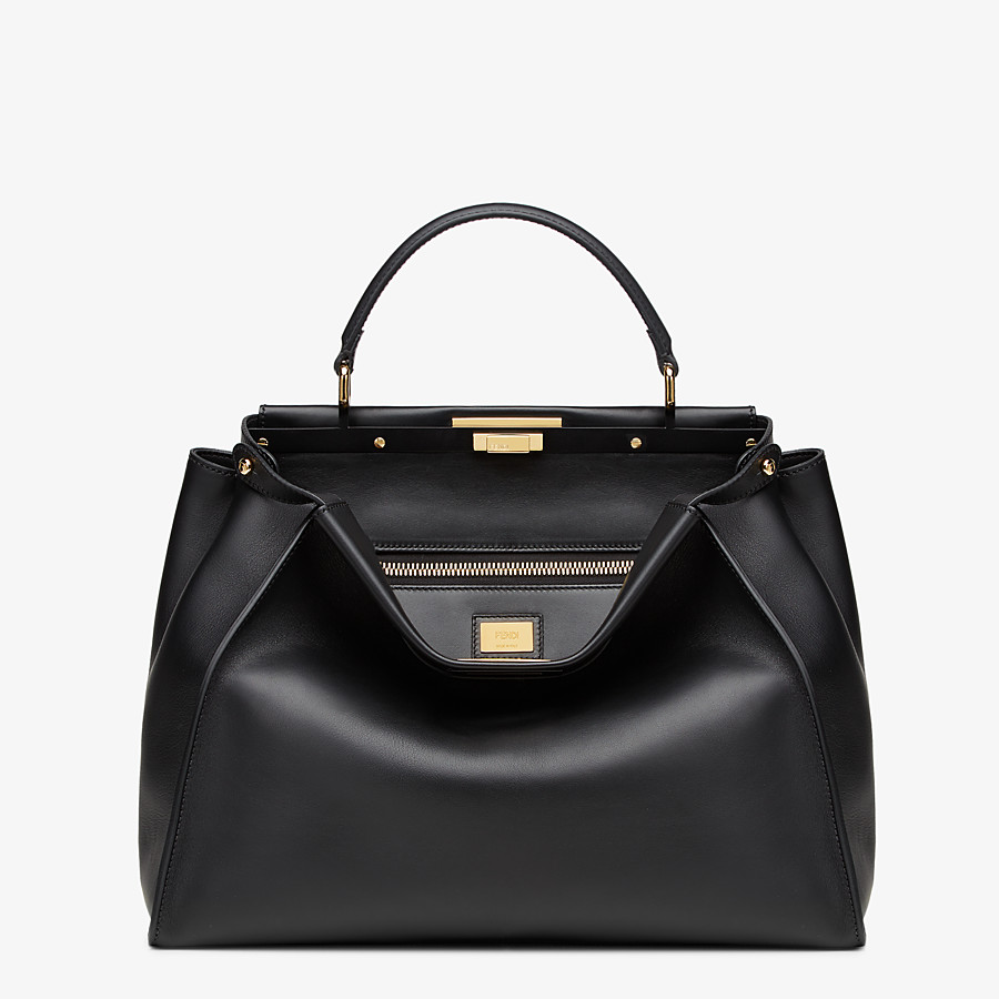 FENDI PEEKABOO ICONIC LARGE - Black leather bag - view 1 detail