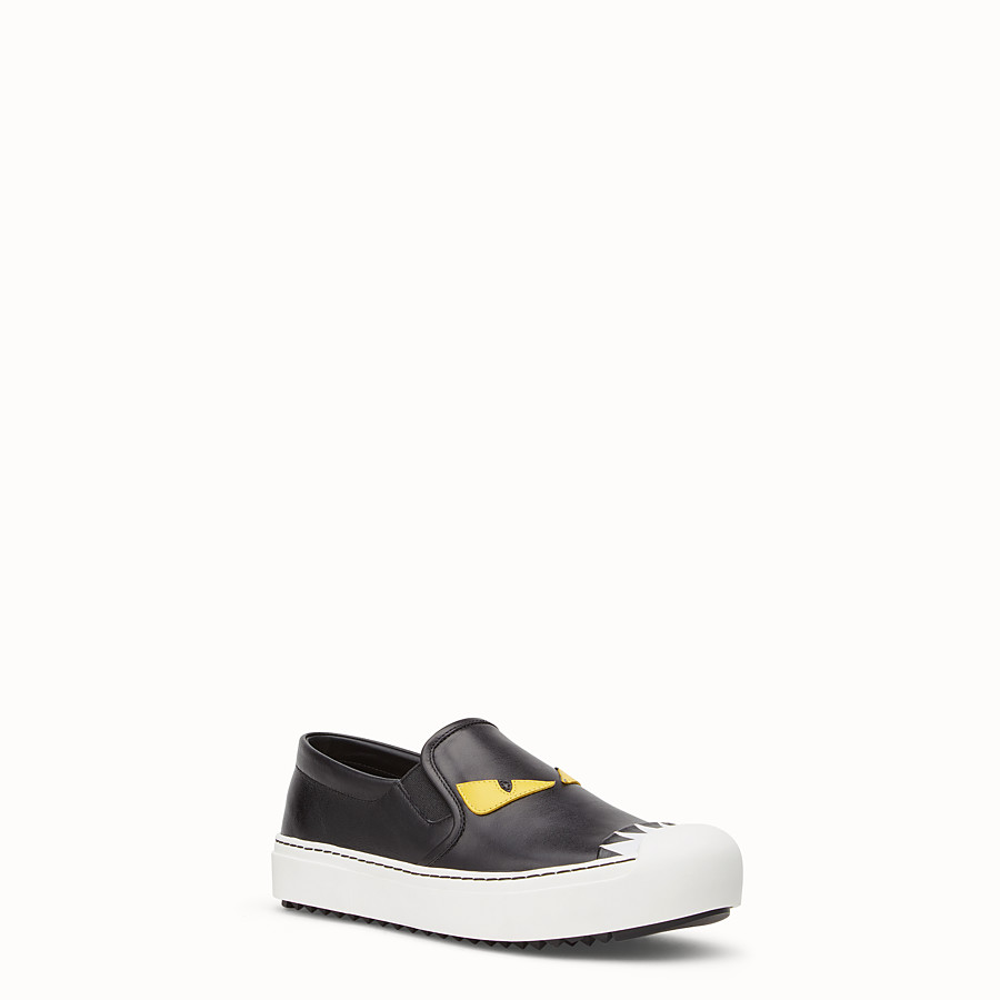 FENDI SNEAKER - Slip on in black calfskin - view 2 detail
