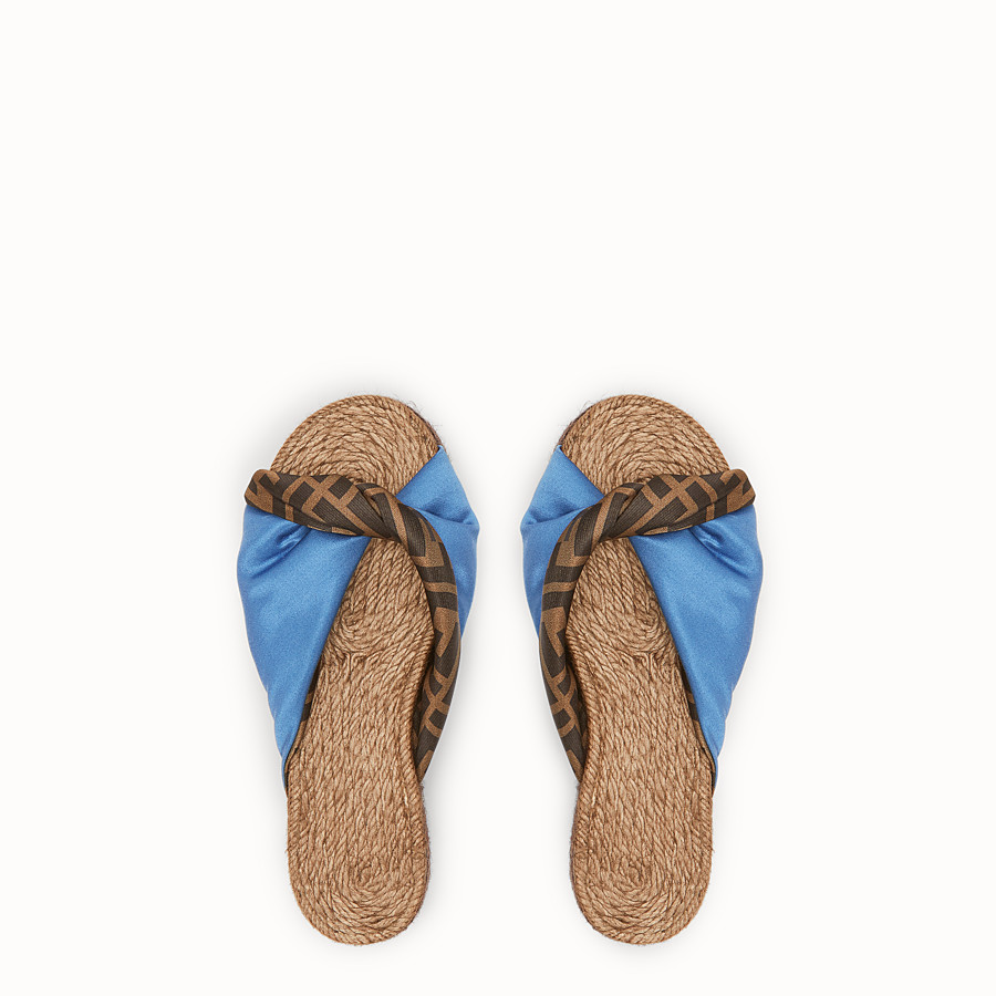 FENDI SANDALS - Blue satin slides - view 4 detail