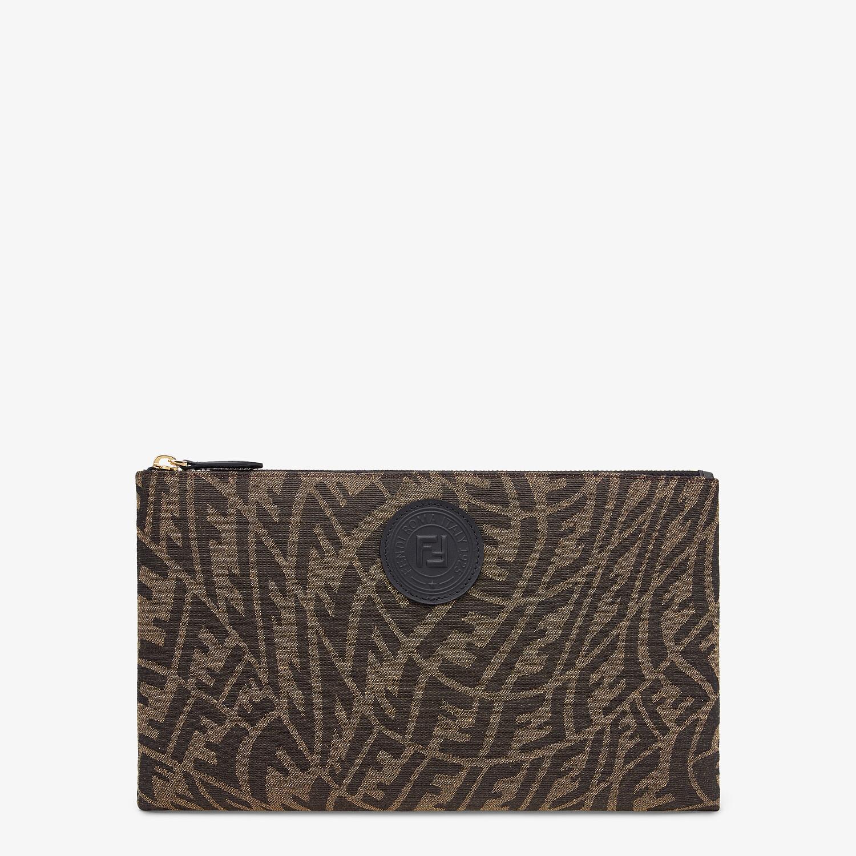FENDI MEDIUM FLAT POUCH - Brown fabric pouch - view 1 detail