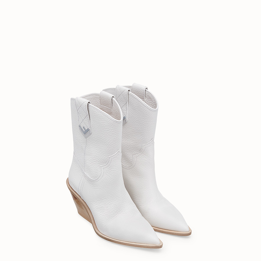 FENDI BOOTS - White leather ankle boots - view 4 detail