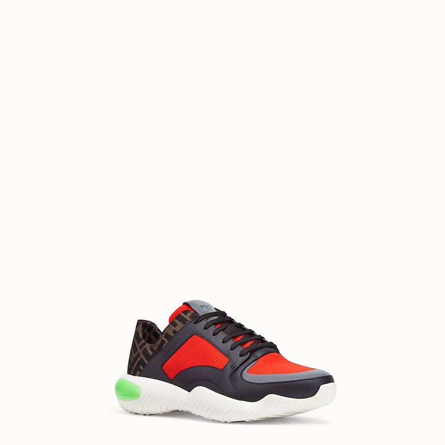 FENDI SNEAKERS - Red tech fabric low-tops - view 2 detail
