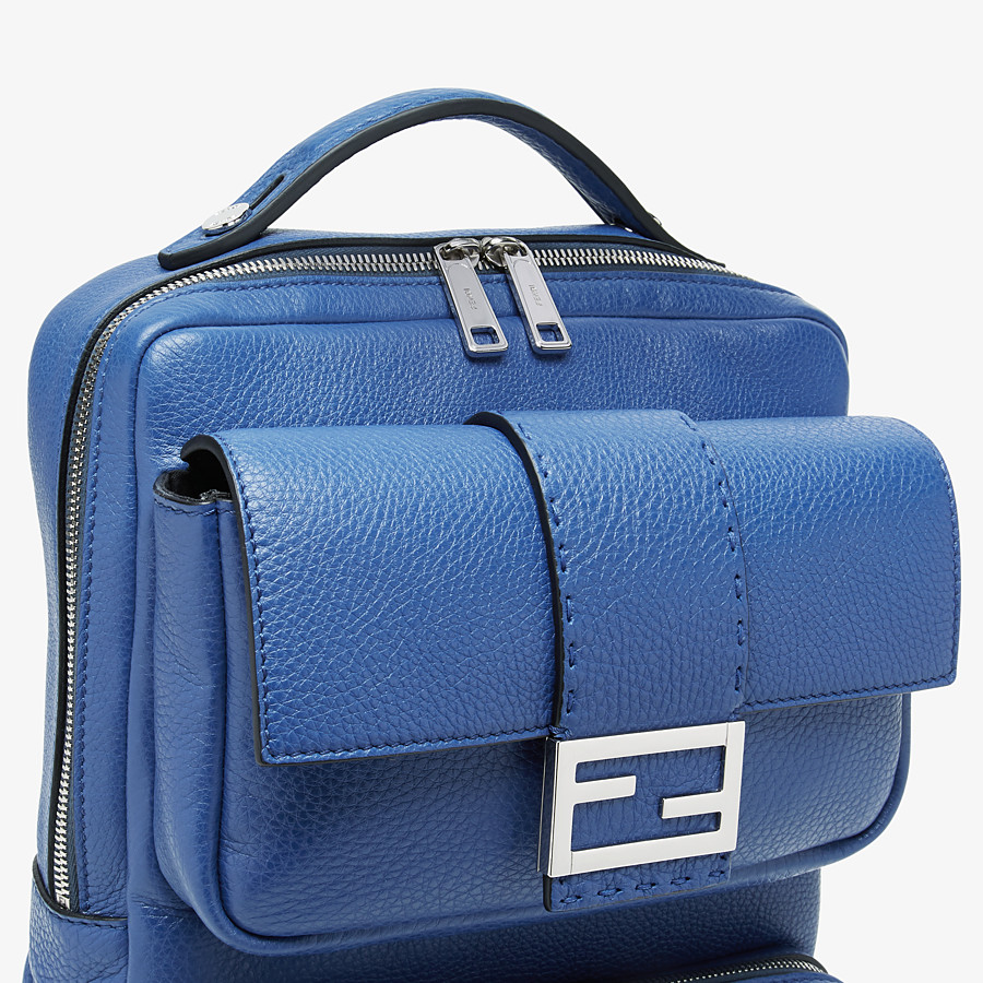 FENDI BACKPACK - Blue leather backpack - view 4 detail