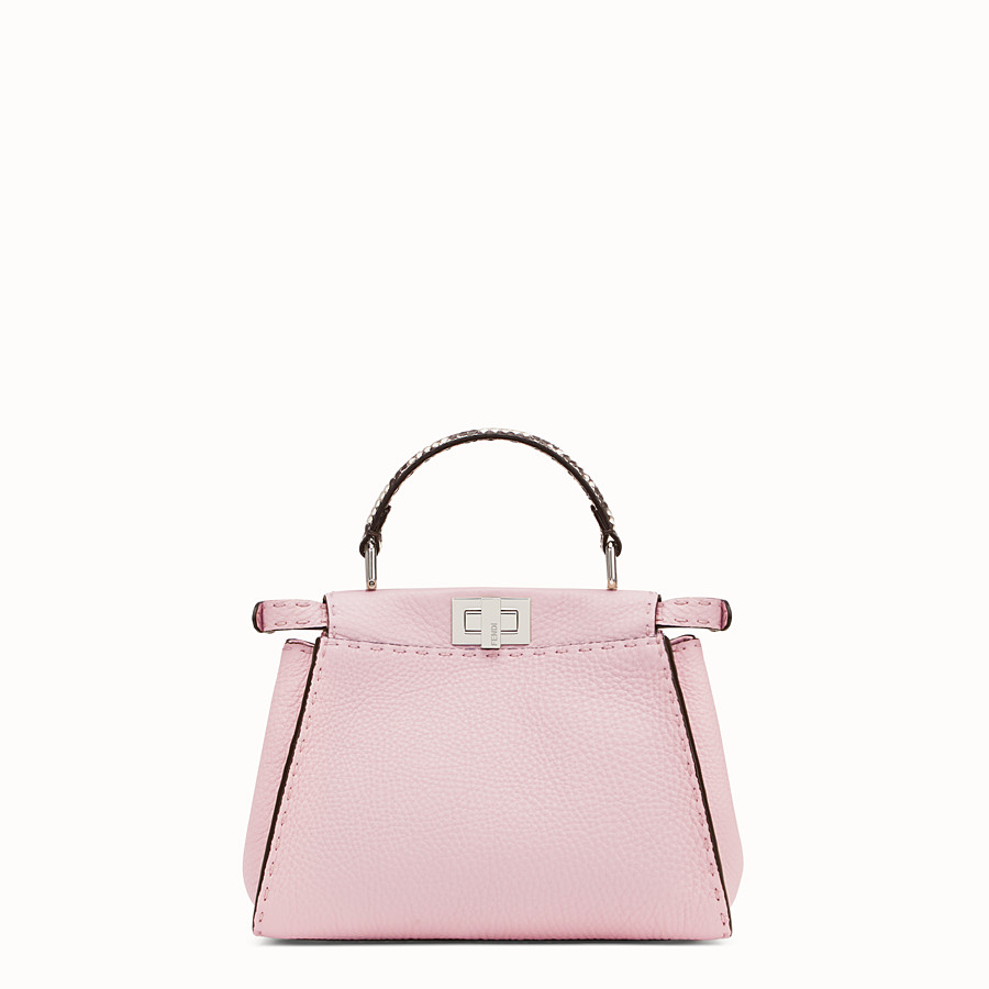 FENDI PEEKABOO MINI - Pink leather bag with exotic details - view 3 detail