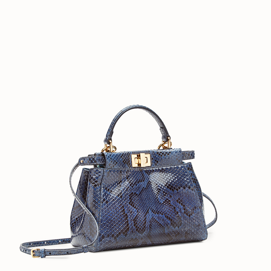 FENDI MINI PEEKABOO - Blue python handbag. - view 2 detail