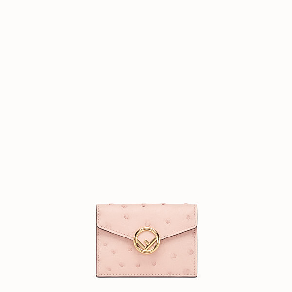 FENDI MICRO TRIFOLD - Pink ostrich leather wallet - view 1 small thumbnail