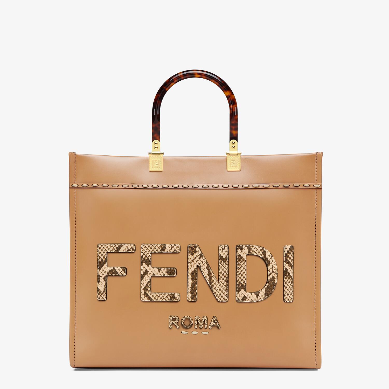 FENDI FENDI SUNSHINE MEDIUM - Light brown leather and elaphe shopper bag - view 1 detail