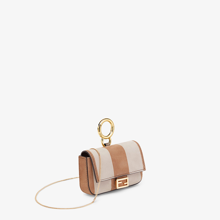 FENDI NANO BAGUETTE - Beige nubuck leather charm - view 3 detail