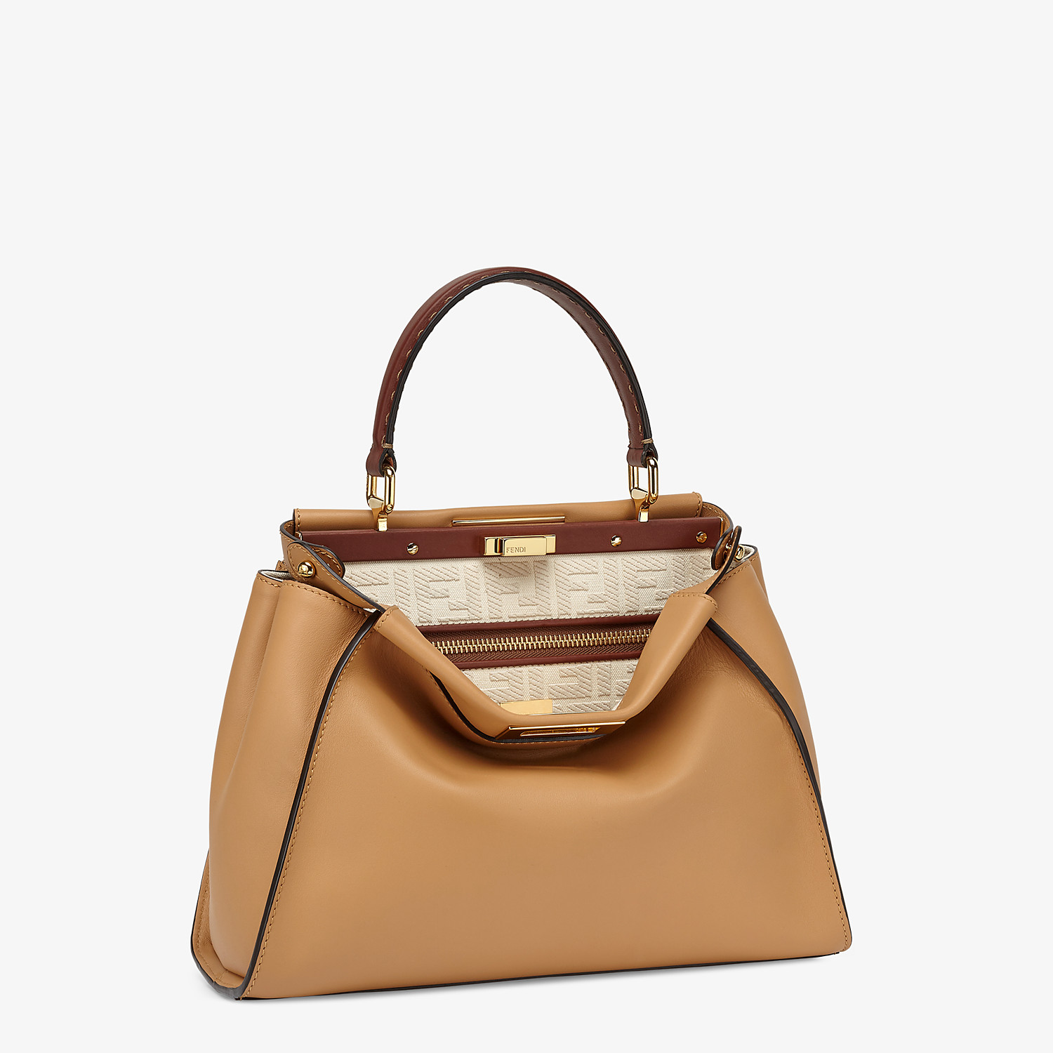 FENDI PEEKABOO ICONIC MEDIUM - Borsa in pelle beige e ricamo FF - vista 3 dettaglio