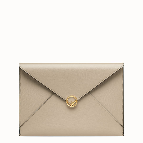 FENDI FLAT POUCH - Beige leather pouch - view 1 small thumbnail