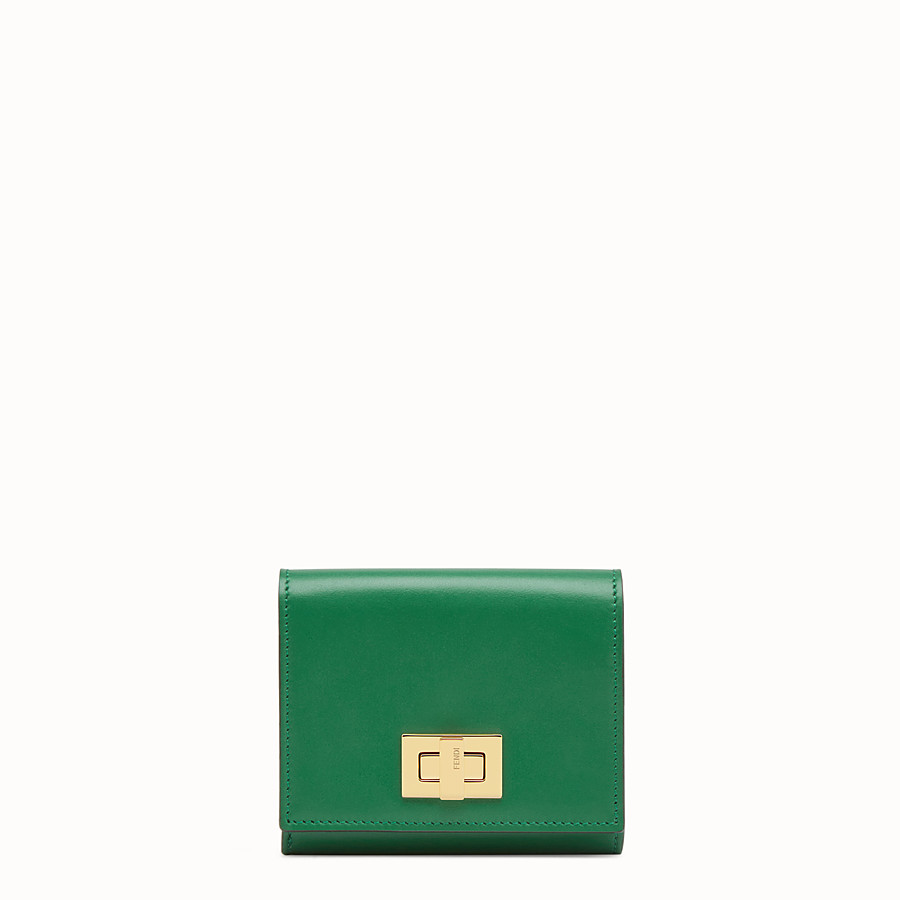 FENDI CARD HOLDER - Mini green leather wallet - view 1 detail