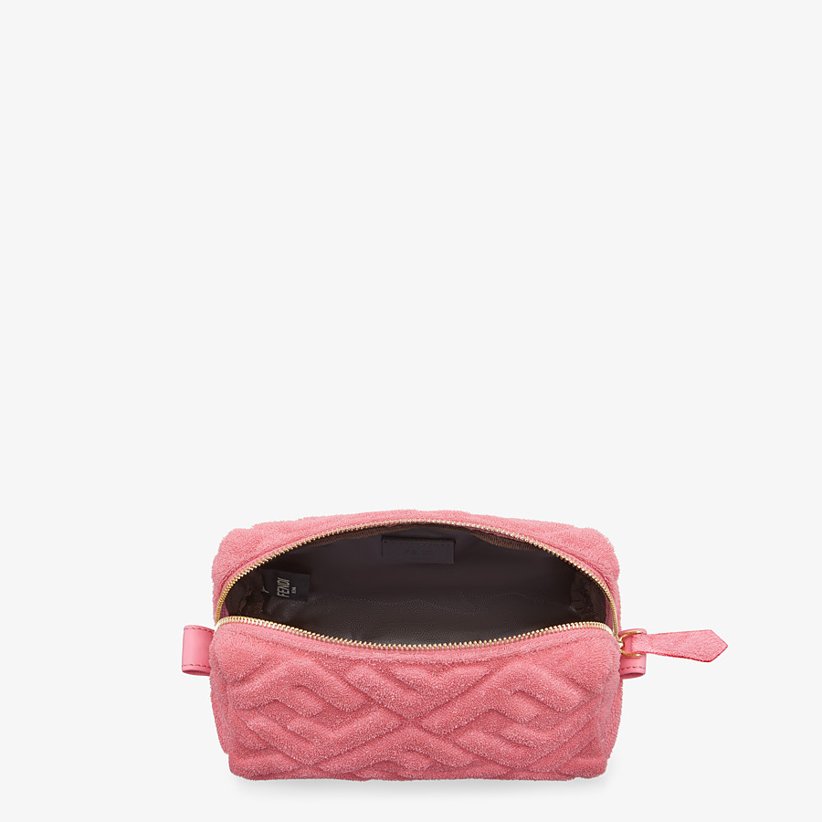 FENDI BEAUTY POUCH SMALL - Pink terrycloth toiletry case - view 3 detail