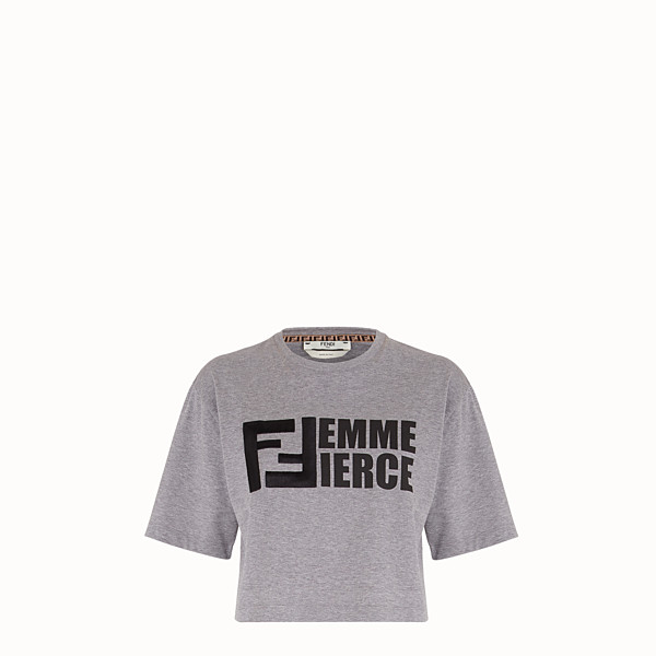 FENDI T-SHIRT - Gray cotton T-shirt - view 1 small thumbnail