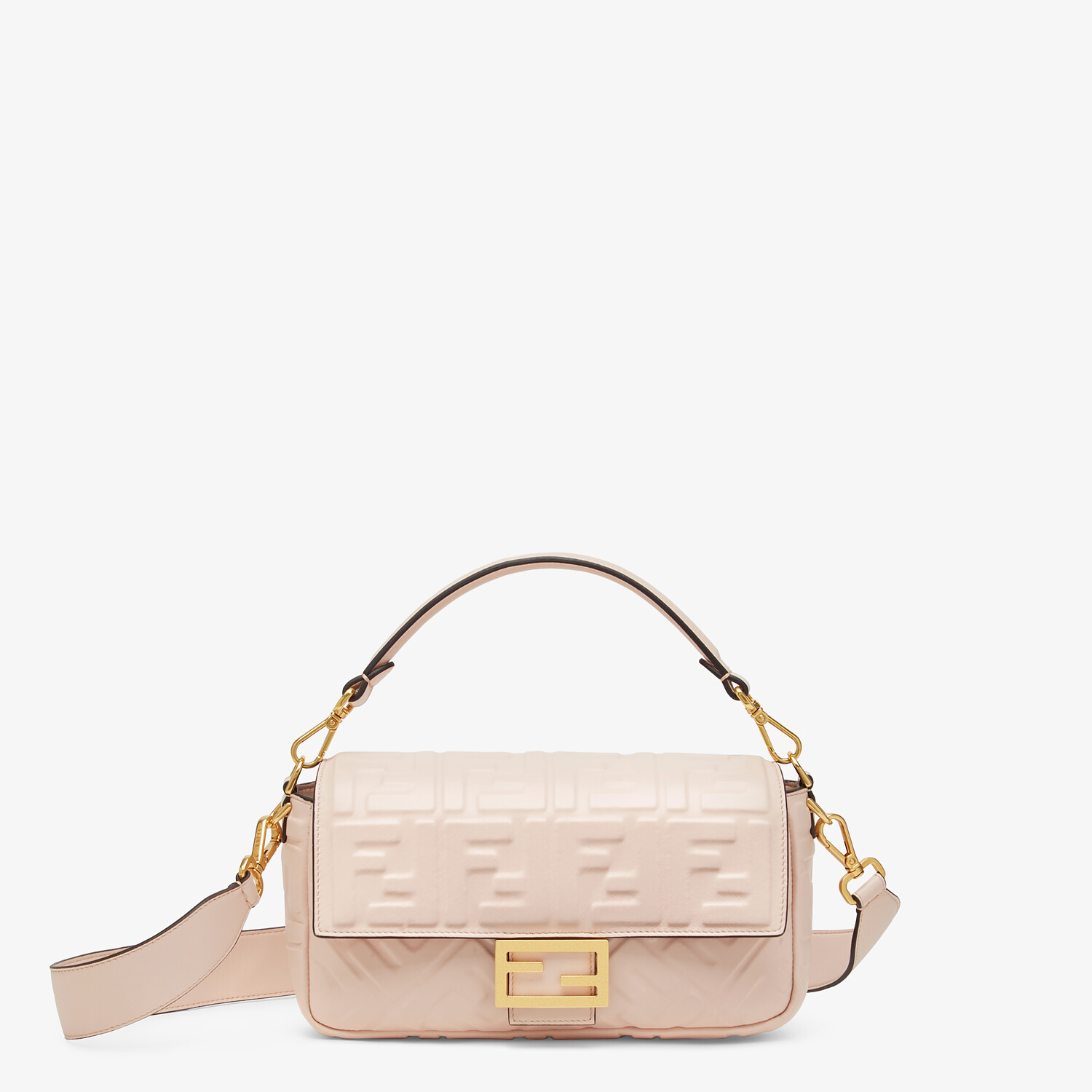 FENDI BAGUETTE - Pink nappa leather FF bag - view 1 detail