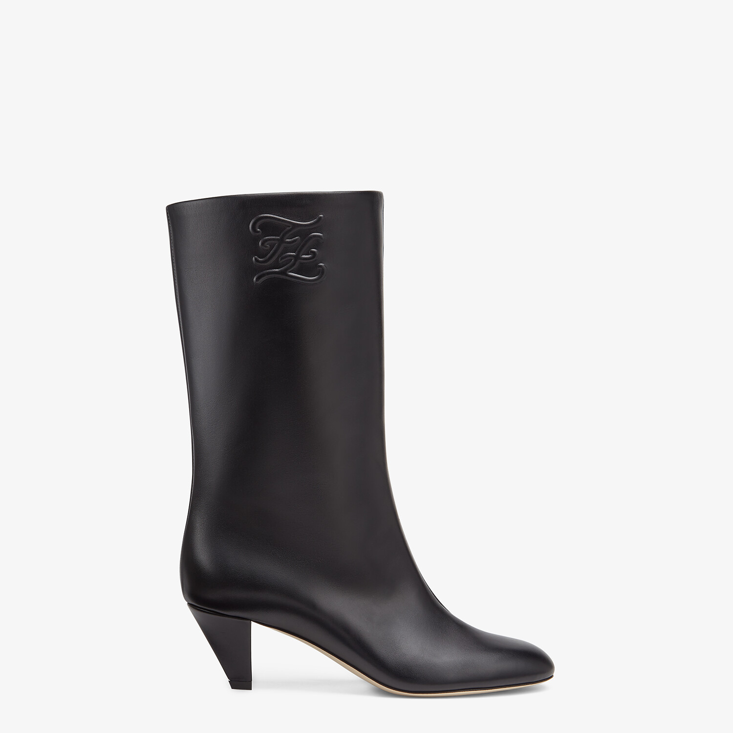 FENDI KARLIGRAPHY - Black leather boots with medium heel - view 1 detail