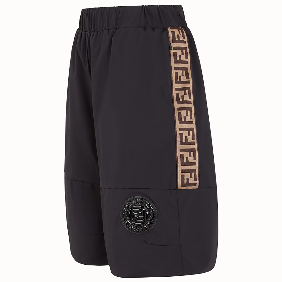 FENDI TROUSERS - Black tech fabric bermudas - view 3 detail