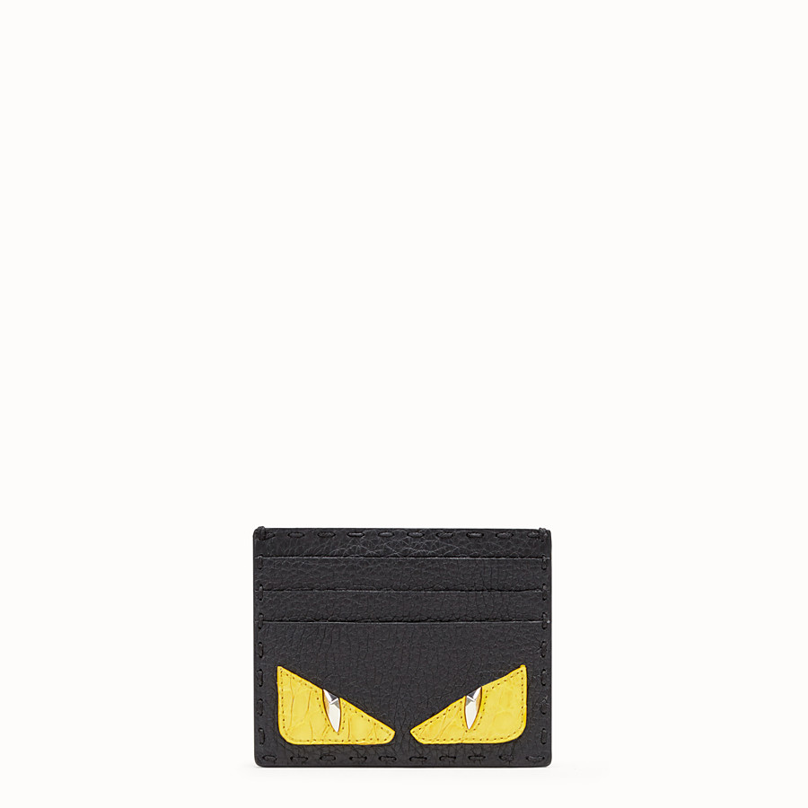 FENDI CARD HOLDER - Black Roman leather card holder with exotic leather details - view 1 detail