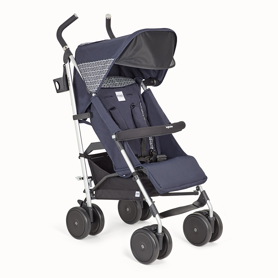 FENDI PUSHCHAIR - Pushchair in blue fireproof material with FF motif - view 2 detail