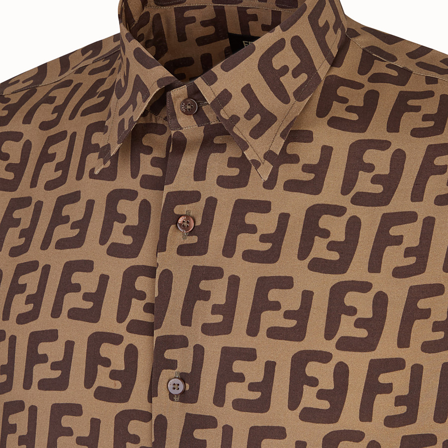 FENDI SHIRT - Brown fabric shirt - view 3 detail