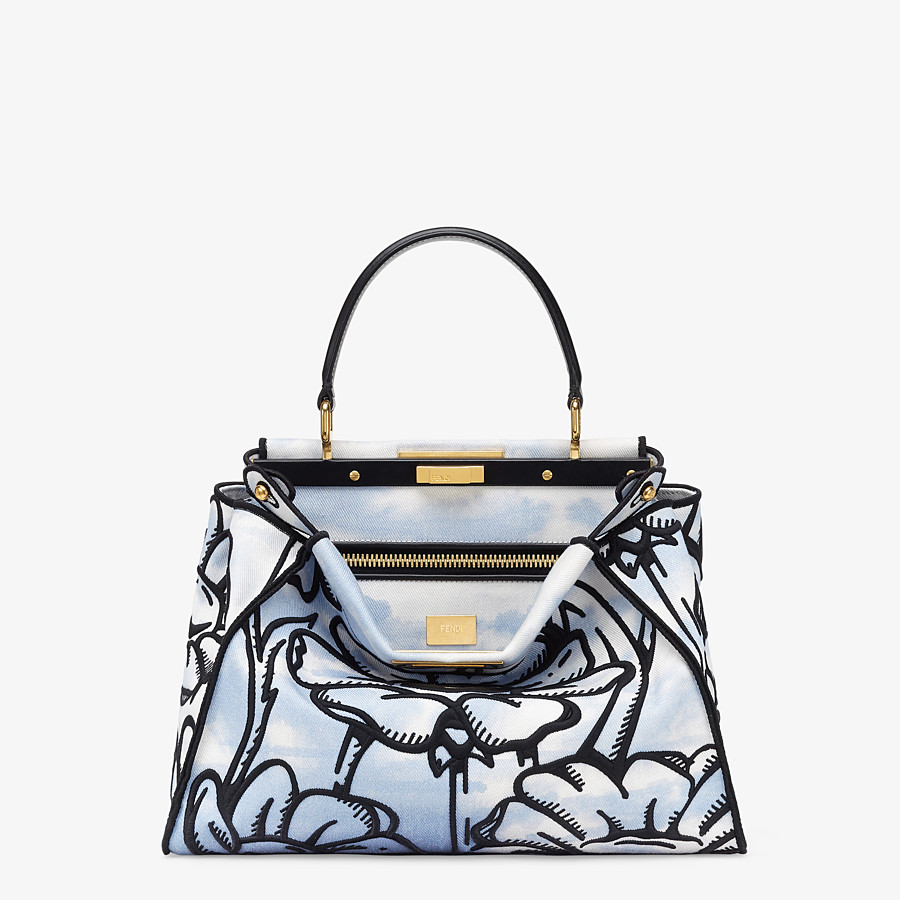 FENDI PEEKABOO ICONIC MEDIUM - Light blue denim and floral embroidery bag - view 1 detail