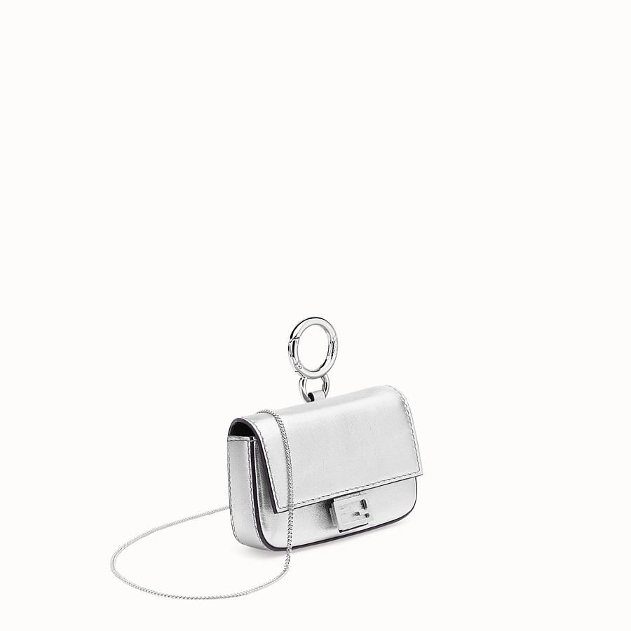 FENDI NANO BAGUETTE - Silver leather charm - view 3 detail