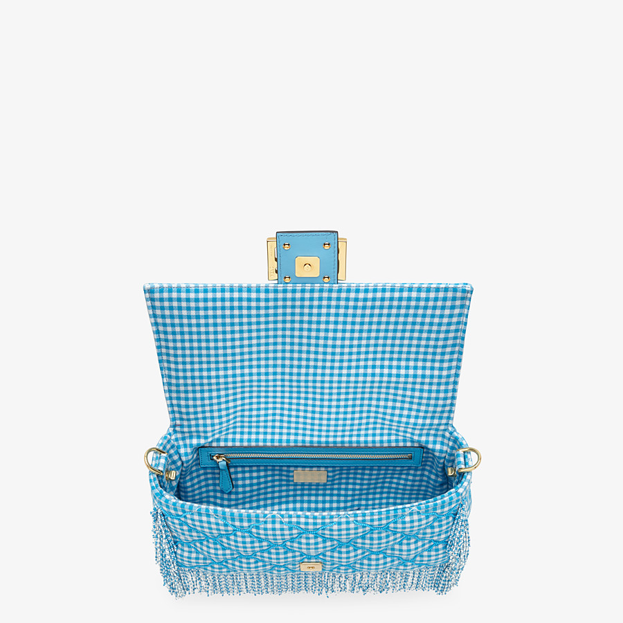 FENDI BAGUETTE - Check fabric bag with beads - view 4 detail