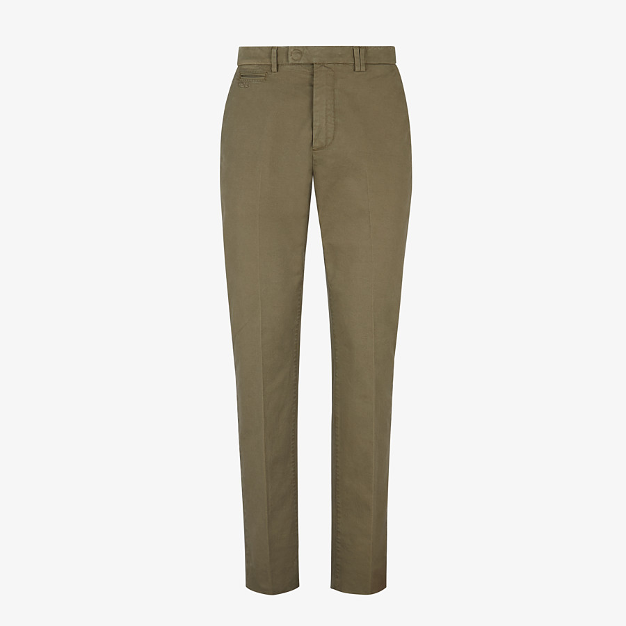 FENDI TROUSERS - Green gabardine trousers - view 1 detail