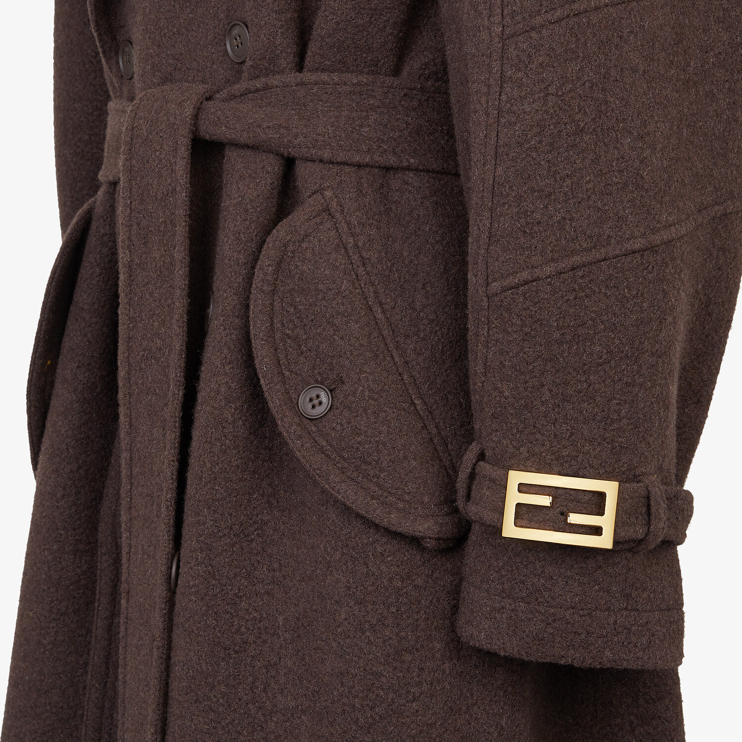 FENDI TRENCH COAT - Brown cashmere trench coat - view 3 detail
