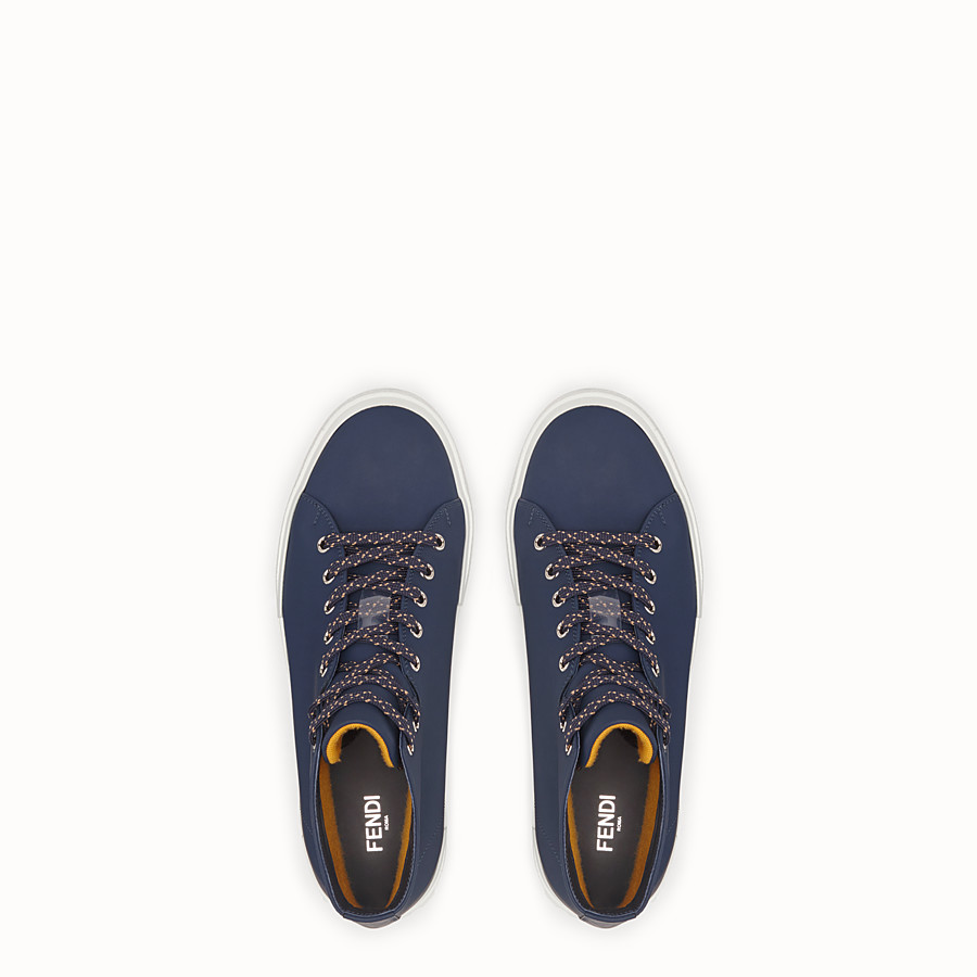 FENDI SNEAKERS - Blue leather high-tops - view 4 detail
