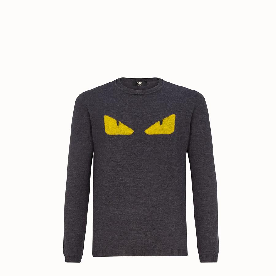 FENDI PULLOVER - Grey wool round-neck jumper - view 1 detail