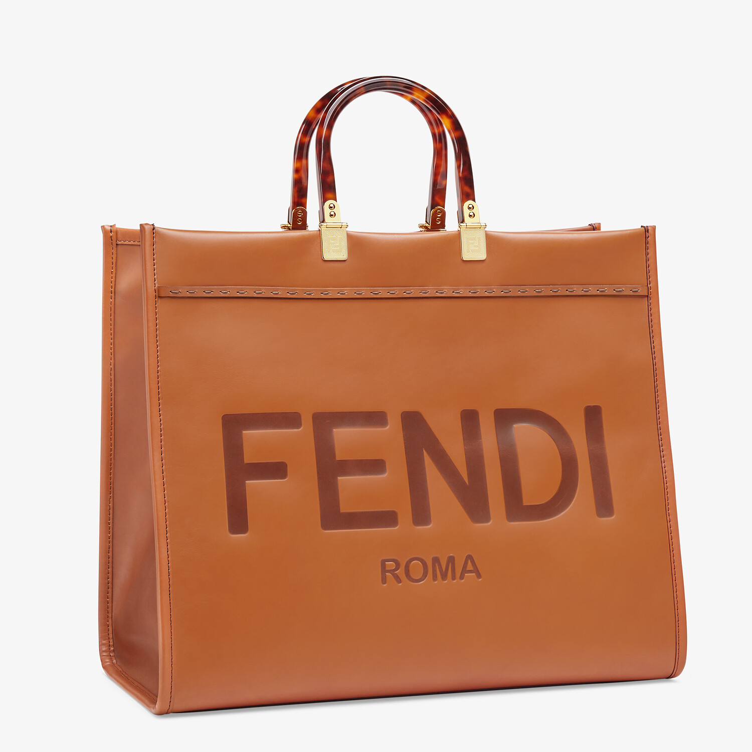 FENDI SUNSHINE SHOPPER - Brown leather shopper - view 3 detail