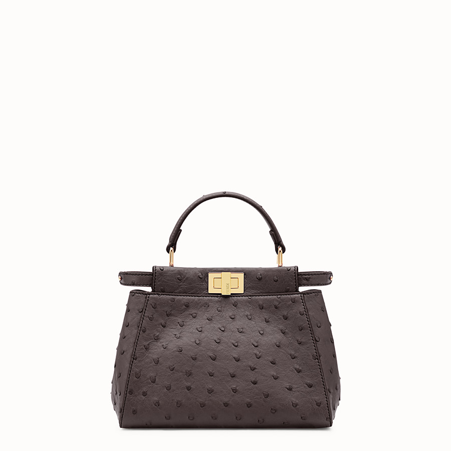 FENDI PEEKABOO MINI - Brown ostrich leather handbag. - view 1 detail