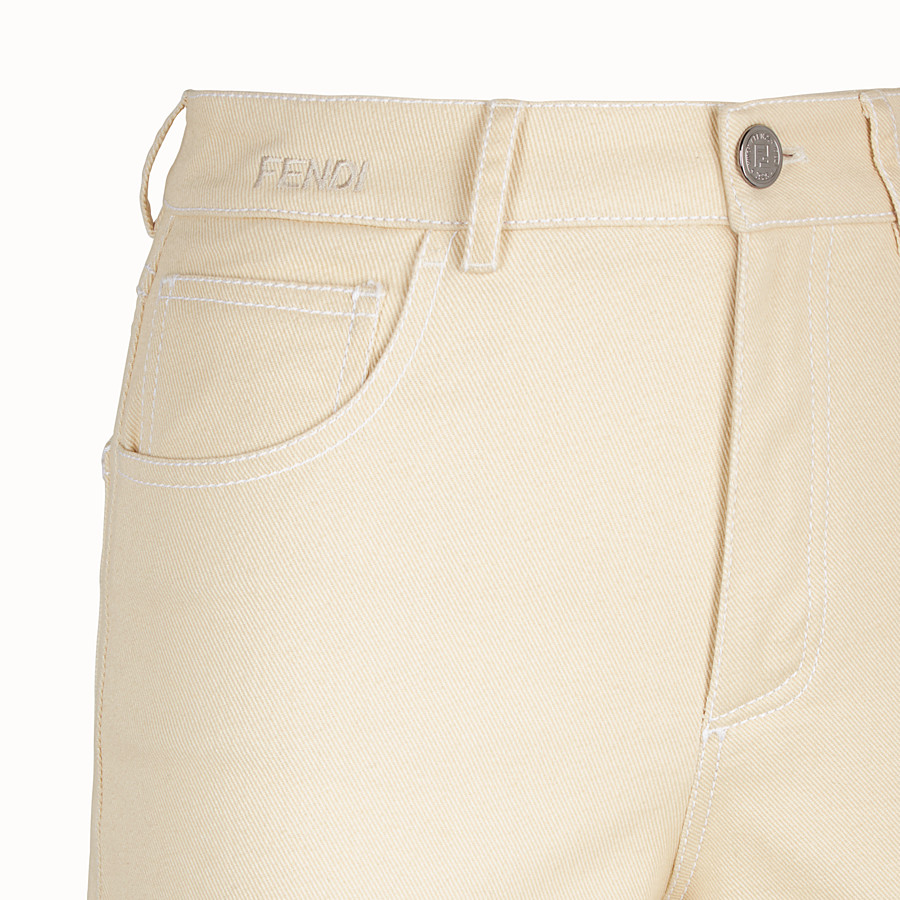 FENDI TROUSERS - Beige cotton trousers - view 3 detail